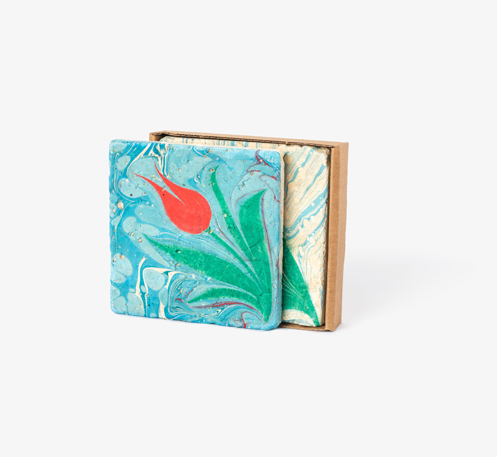 Hand Painted Coasters – Flower by Bookblock - Bookblock Shop Home