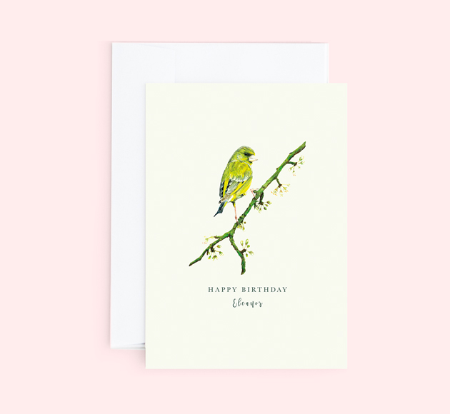 Customisable Birthday greeting card with green Budgie on a branch