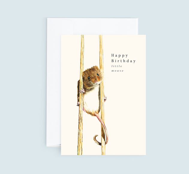 Customisable Birthday greeting card with a little mouse.