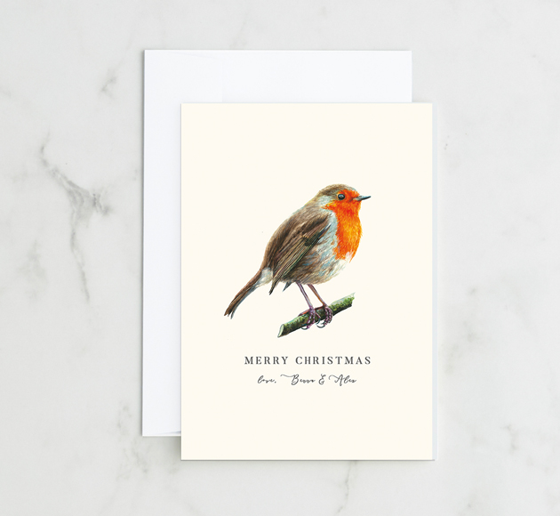 Customisable Christmas greeting card with a red Robin on a branch.