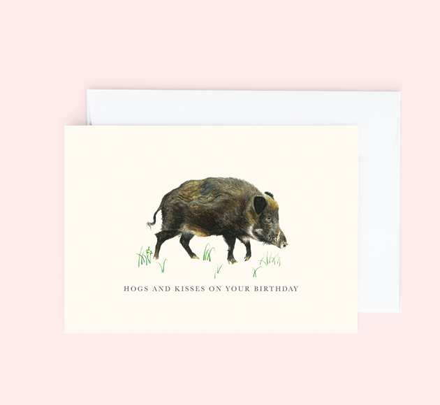 Customisable Birthday greeting card with a Hog