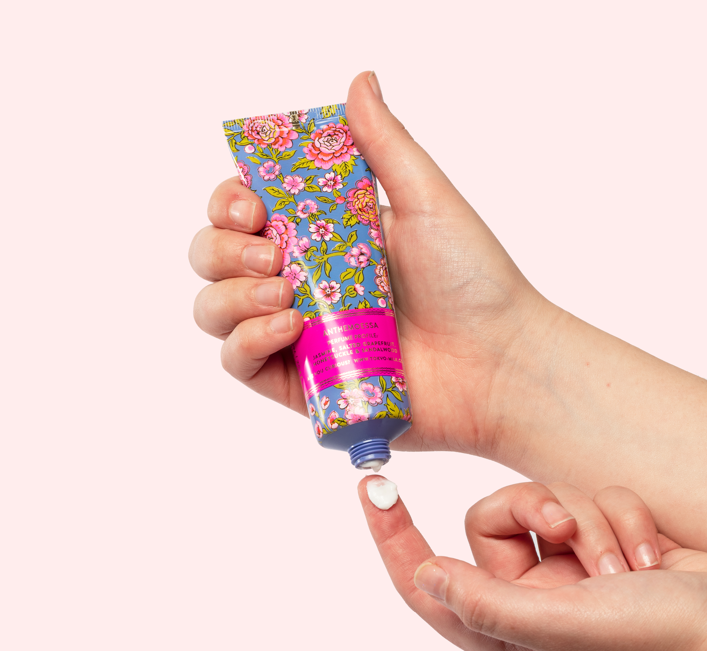 Tokyomilk pink and blue floral handcream on Bookblock
