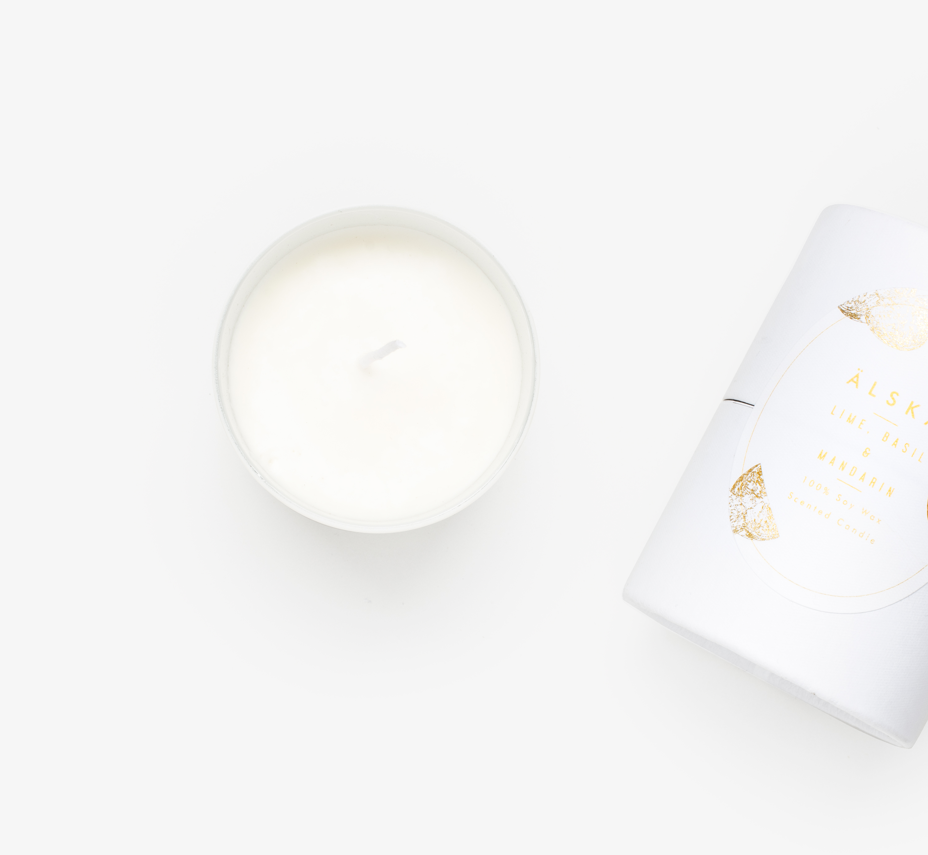 Lime basil and mandarin white Alska candle gift by Bookblock