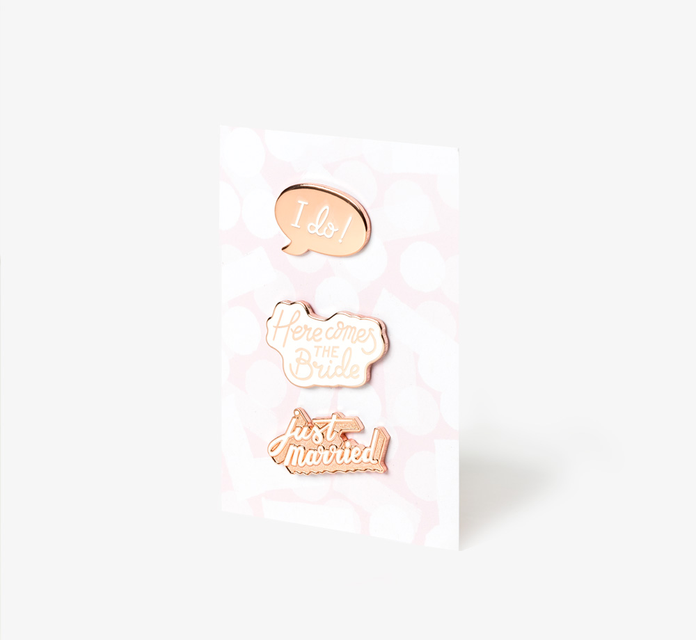 Wedding Enamel Pin Set by Alphabet Bags - Bookblock Shop Wedding