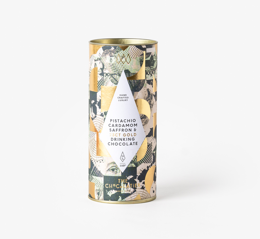 Pistachio, Cardamom, Saffron & 23ct Gold Drinking Chocolate by The ChocolatierEat & Drink| Bookblock
