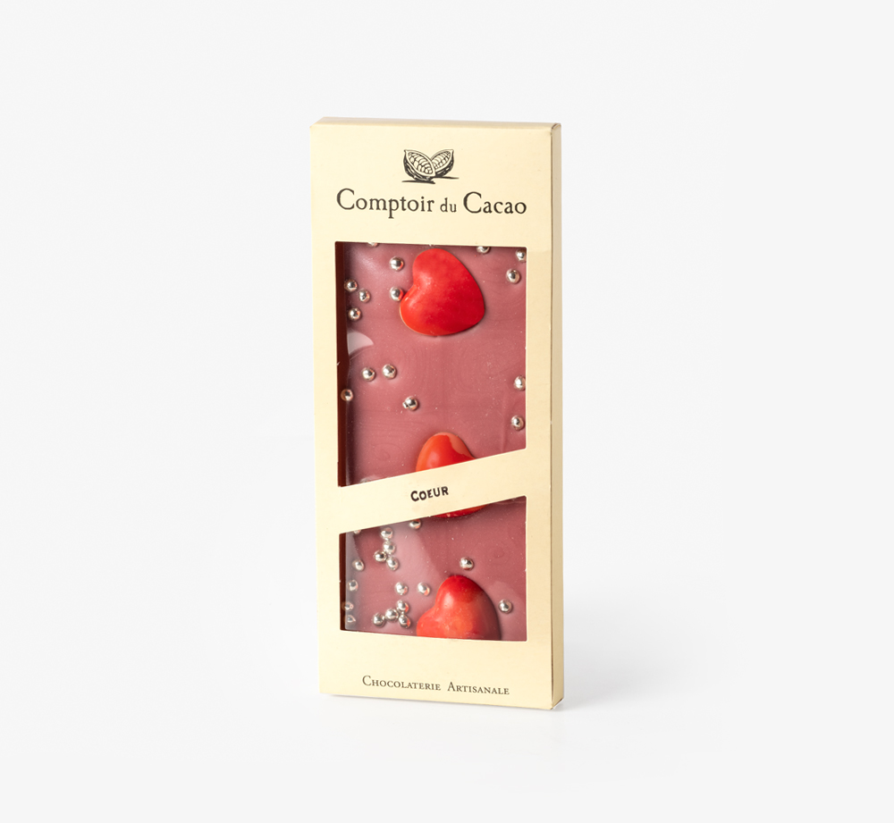 Ruby Chocolate with Hearts by Comptoir du Cacao - Bookblock Shop Chocolate