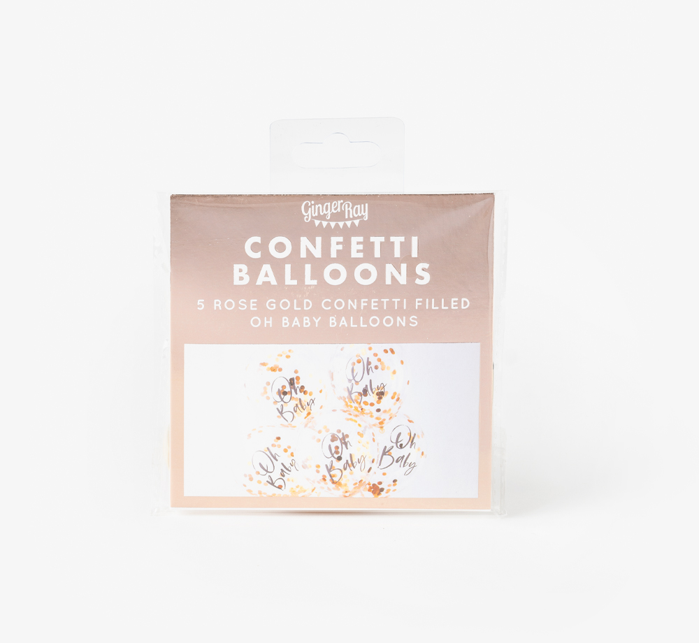 Rose Gold 'Oh Baby' Confetti Balloons by Ginger RayLifestyle & Games| Bookblock