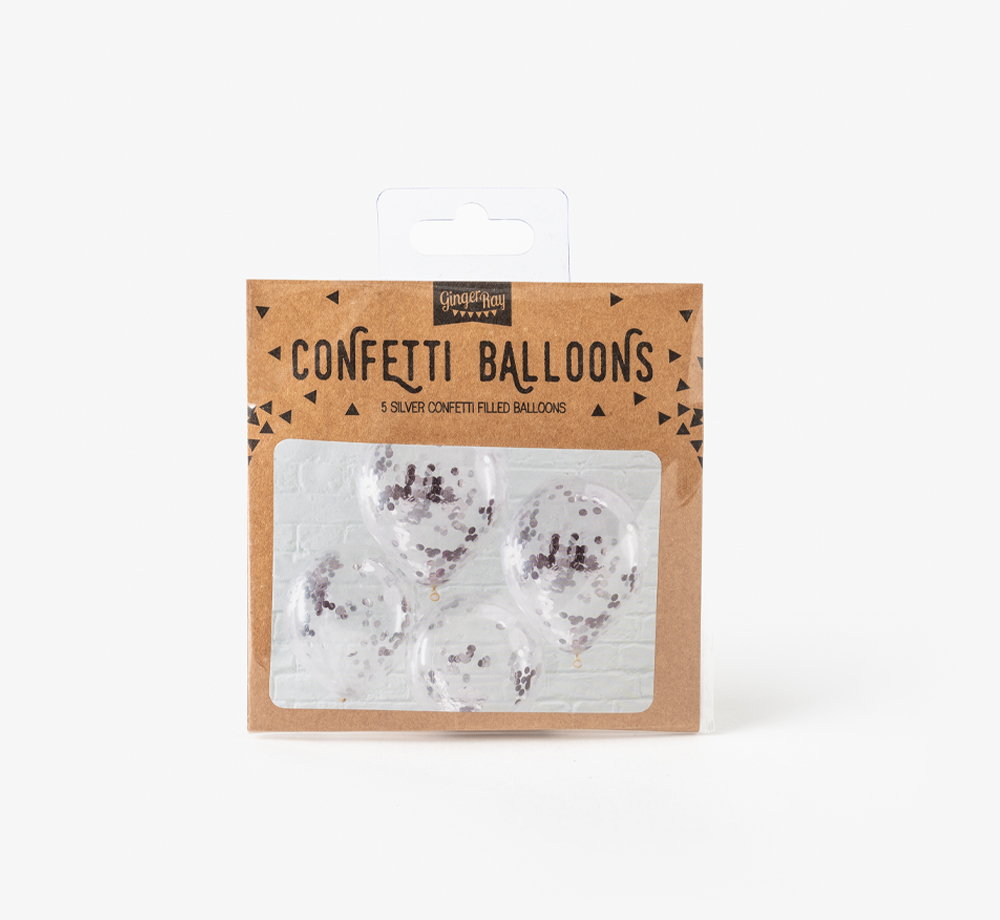 Silver Confetti Balloons by Ginger RayCorporate Gifts  Bookblock