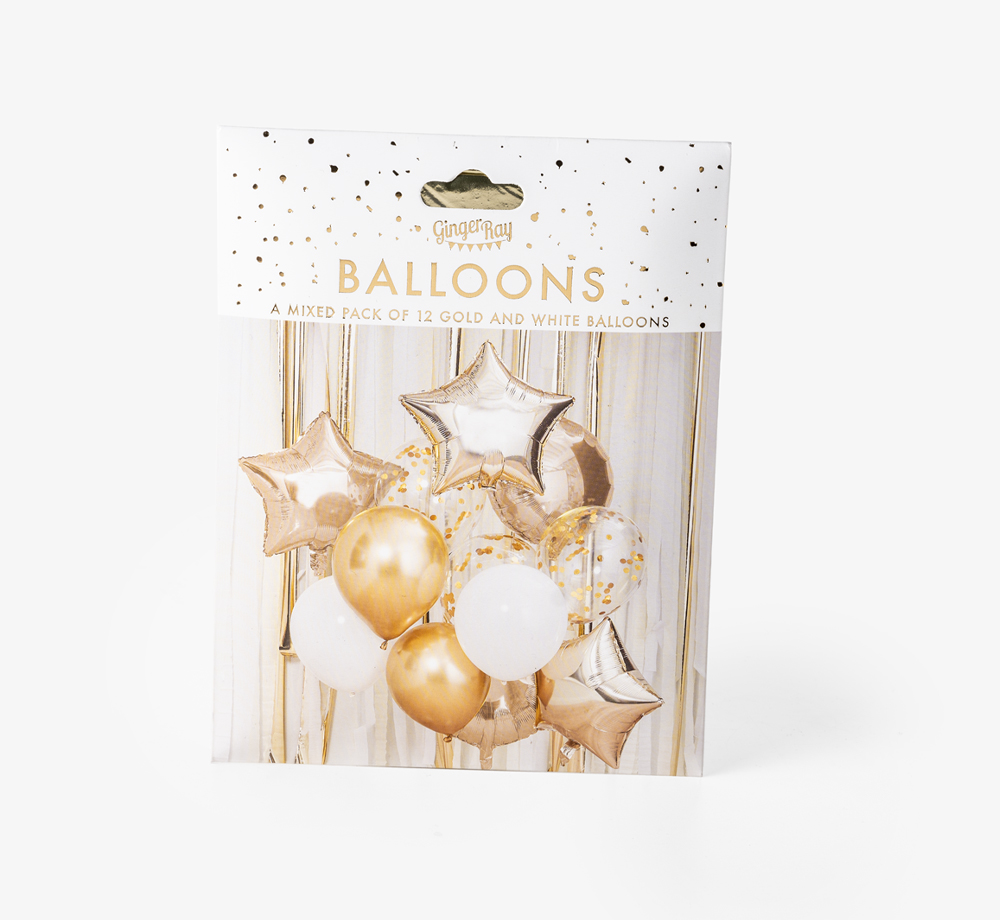 Gold and White Balloon Bundle by Ginger RayCorporate Gifts  Bookblock