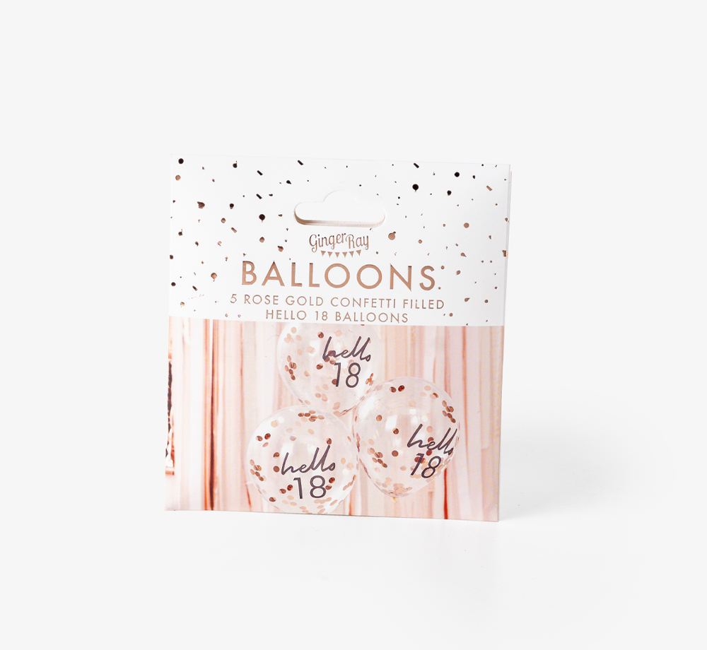 'Hello 18' Rose Gold Confetti Balloons by Ginger RayLifestyle & Games| Bookblock