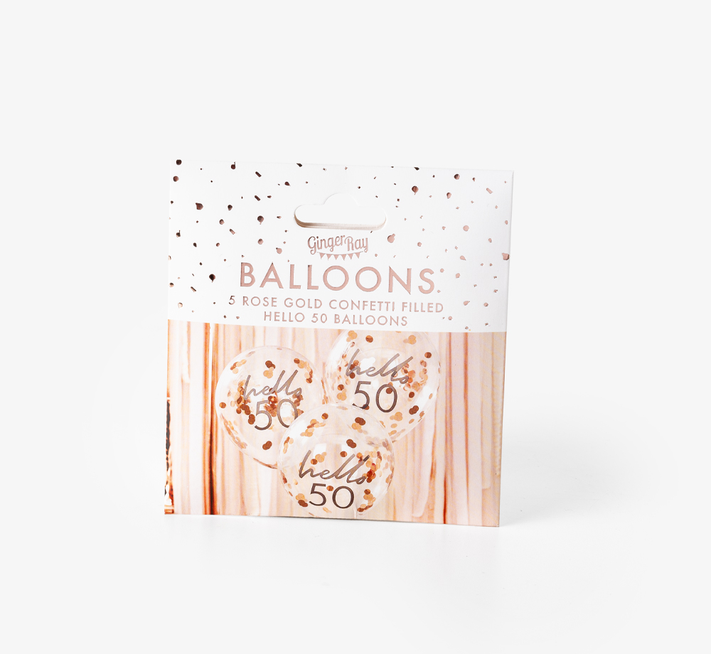 'Hello 50' Rose Gold Confetti Balloons by Ginger RayLifestyle & Games| Bookblock