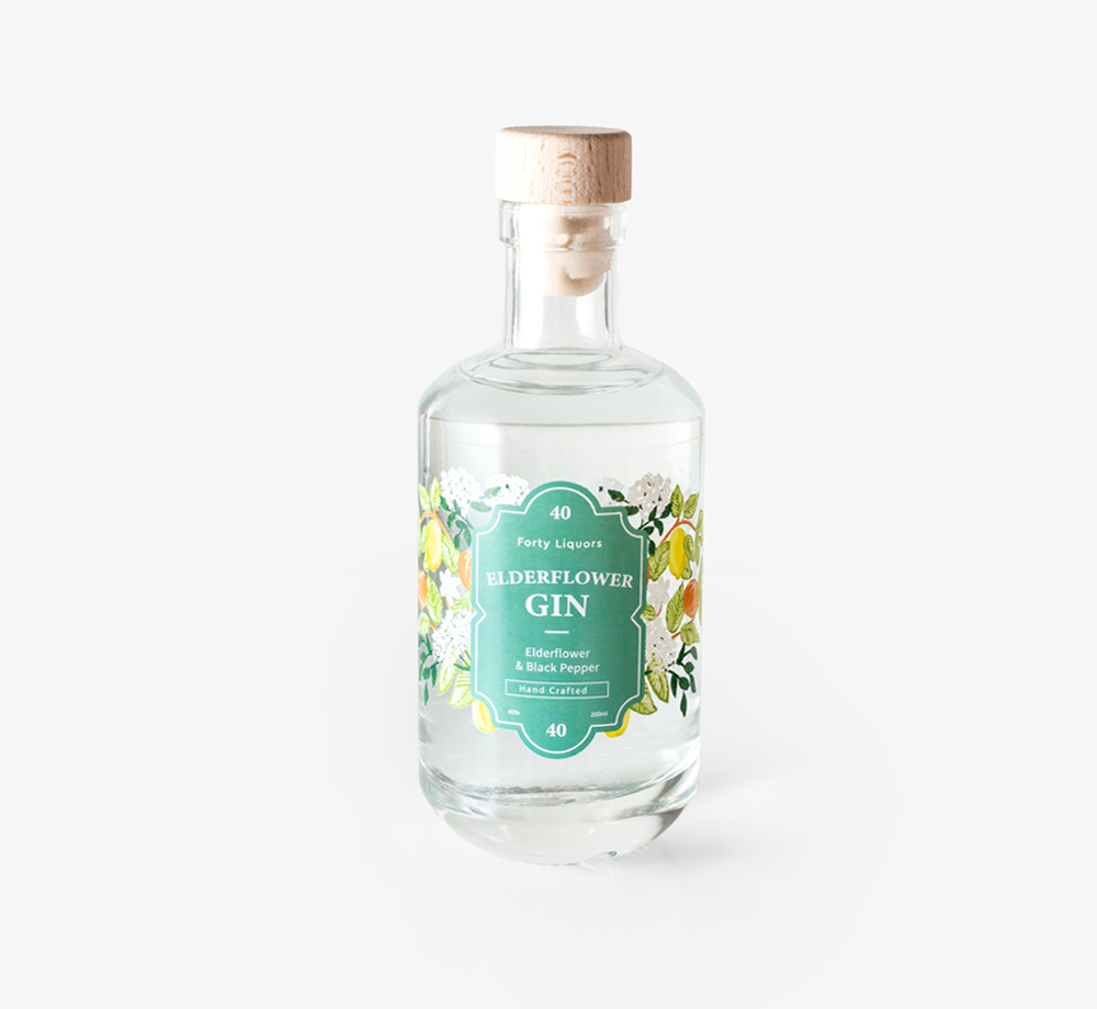 Elderflower Gin 20cl by Forty LiquorsEat & Drink| Bookblock