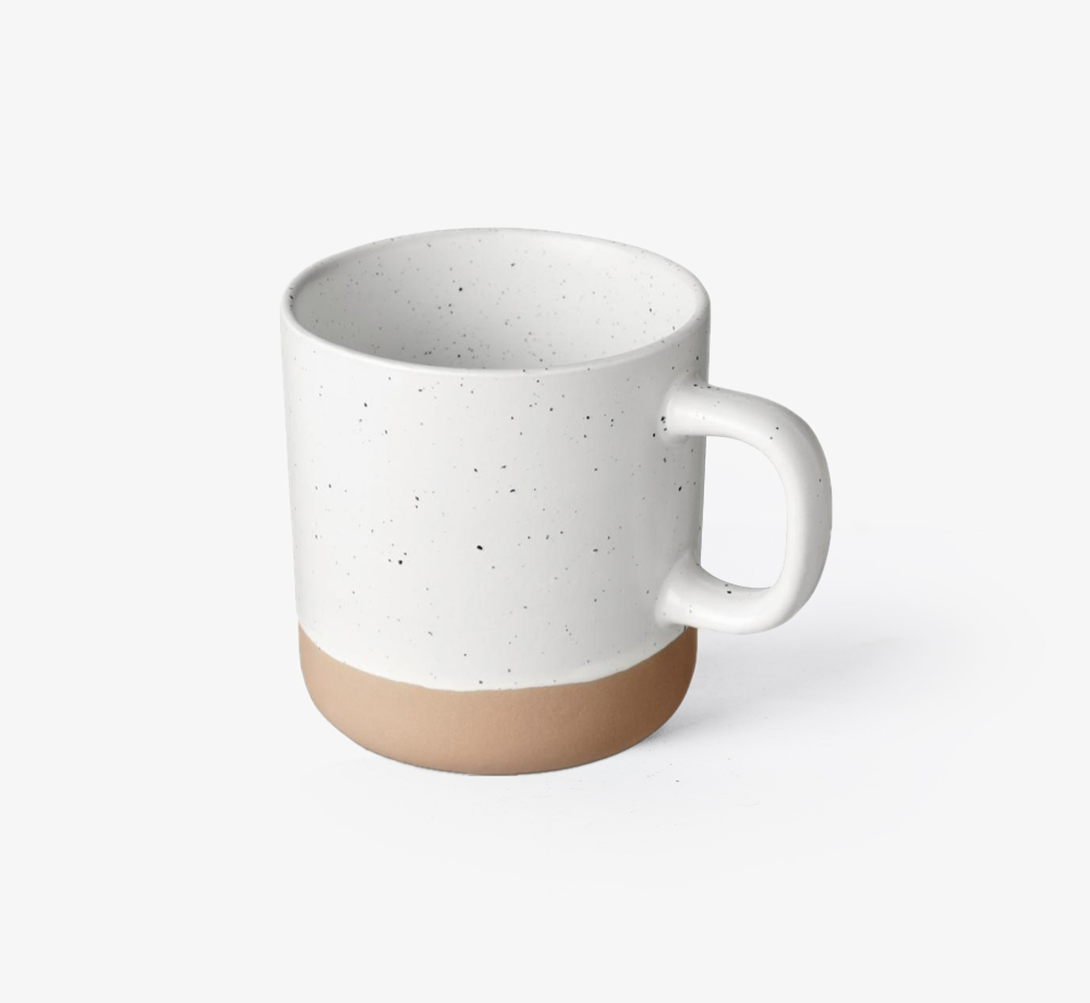 White Ceramic Mug with Unglazed Bottom by BookblockHome| Bookblock