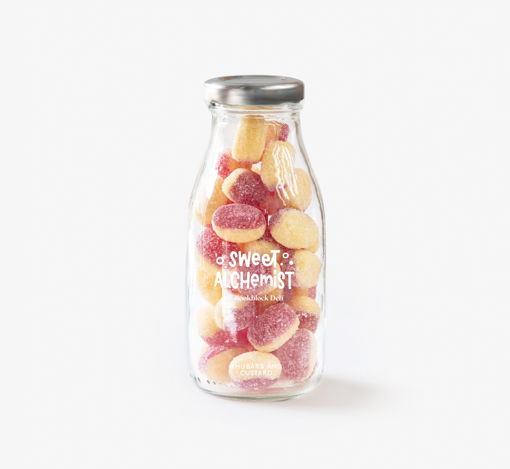 Rhubarb and Custard Sweets by The Sweet AlchemistCorporate Gifts  Bookblock