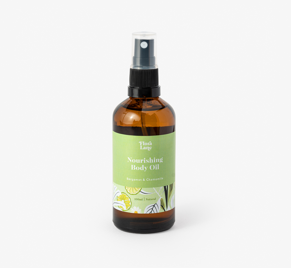 Bergamot & Chamomile Nourishing Body Oil by Flora LanePamper| Bookblock