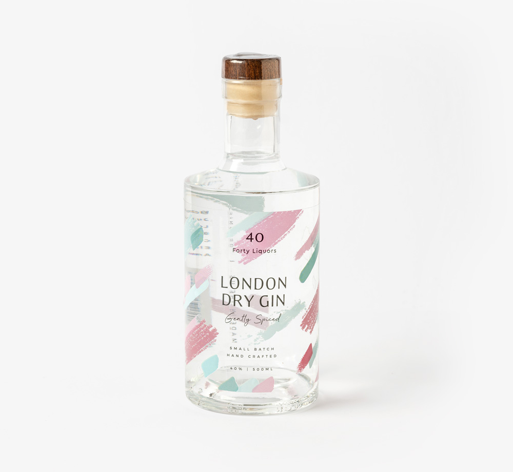 London Dry Gin 50cl by Forty LiquorsCorporate Gifts| Bookblock