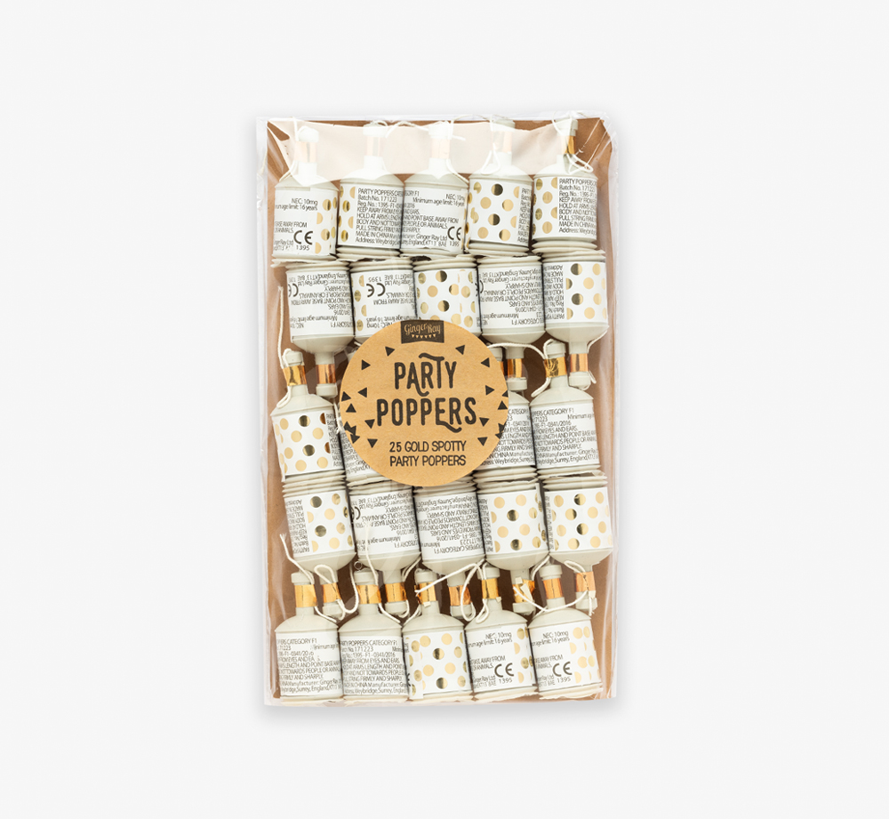 Gold Foiled Polka Dot Party Poppers by Ginger RayCorporate Gifts  Bookblock