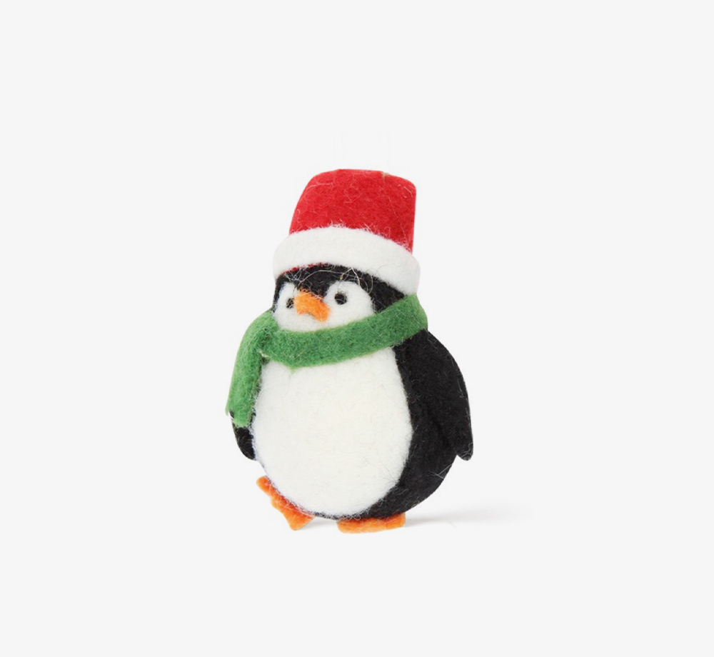 Wool Penguin with Santa Hat Decoration by Gisela GrahamHome  Bookblock
