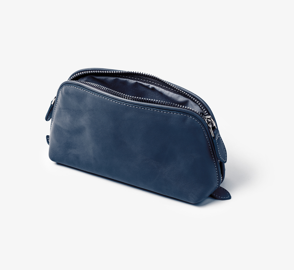 Leather Cosmetic Bag Navy by BookblockLeather| Bookblock