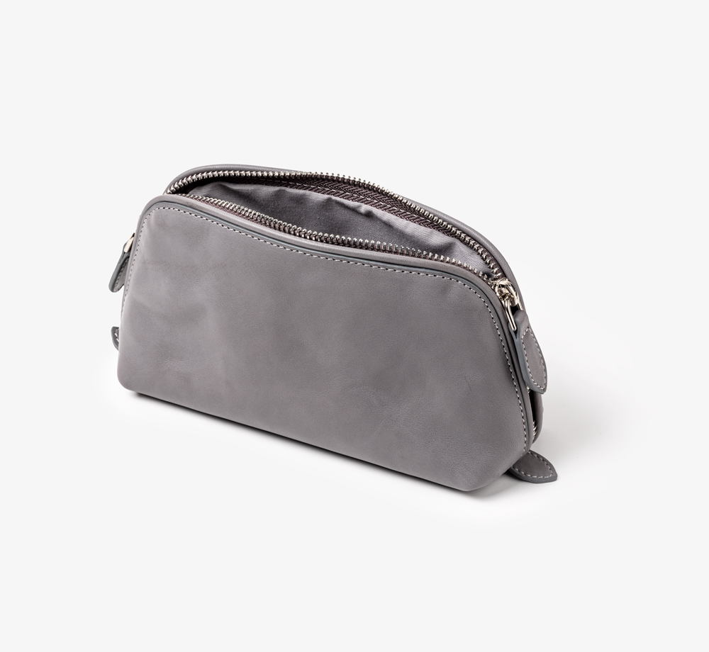Grey Leather Cosmetic Bag by BookblockLeather| Bookblock