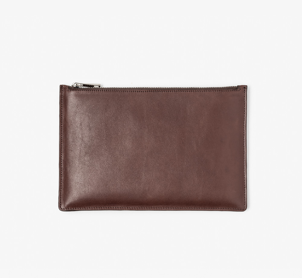 Brown Leather Zip Pouch by BookblockLeather  Bookblock