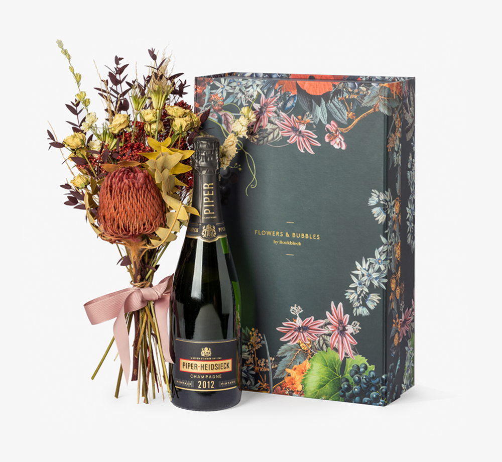 Vintage Champagne & Roses by Flowers & BubblesGift Box| Bookblock
