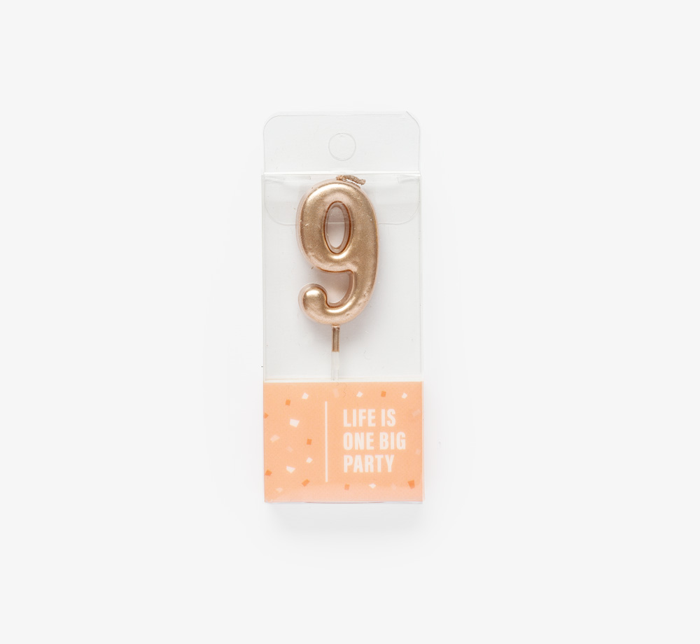 Rose Gold Candle '9' by Life Is One Big PartyLifestyle & Games| Bookblock