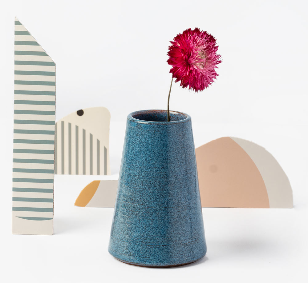 Blue Glazed Clay Vase by BookblockHome| Bookblock