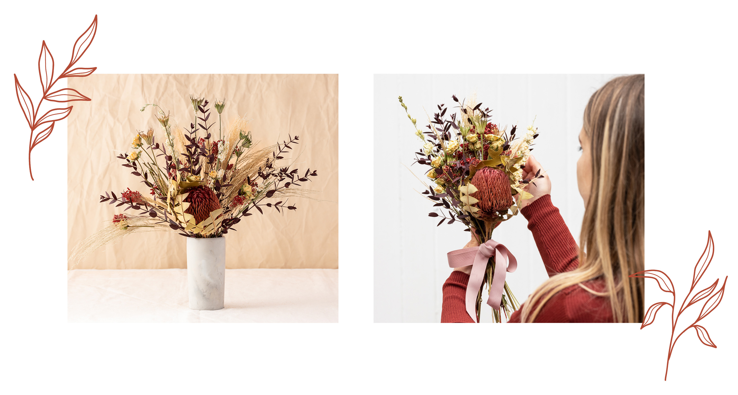 Two photos of Banskia Dried Flower Bouquet in a vase and being held, with leaf decoration in orange