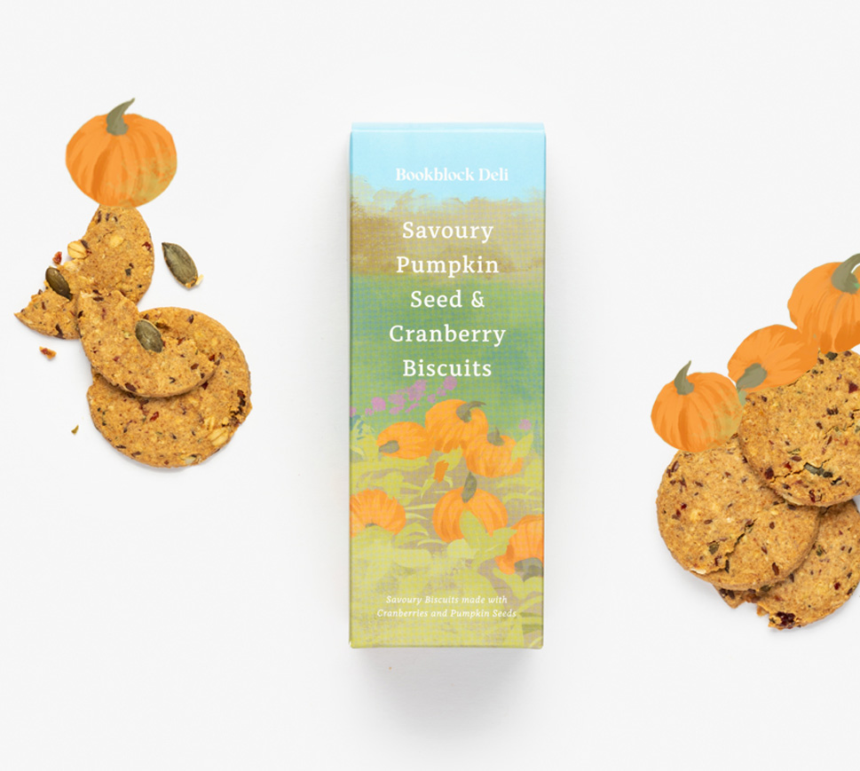Savoury Pumkpkin Seed and Cranberry Biscuits with orang pumpkin decoration