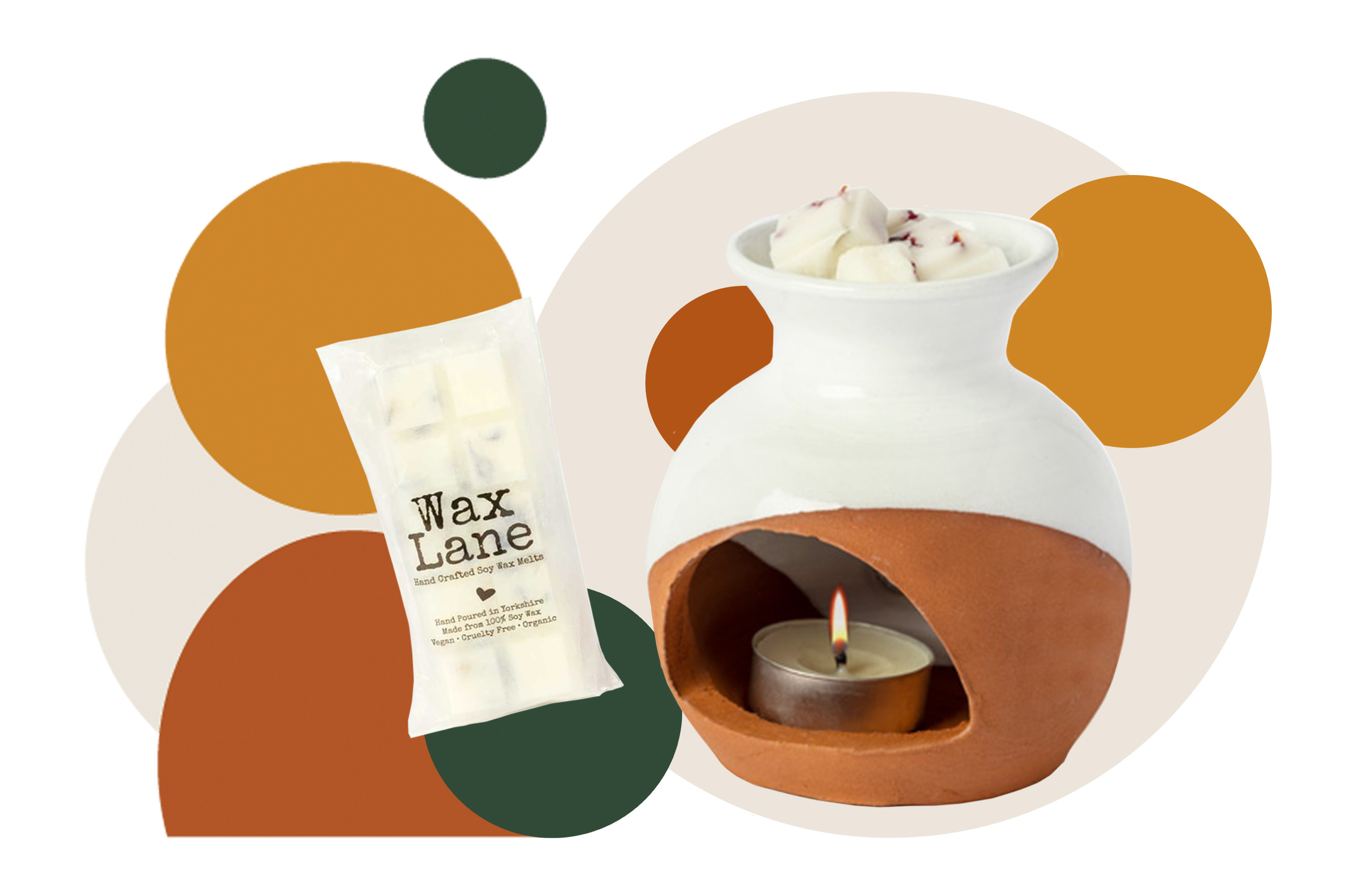 Clay Wax Burner and Wax Melt with circles decoration in greens, oranges and creams